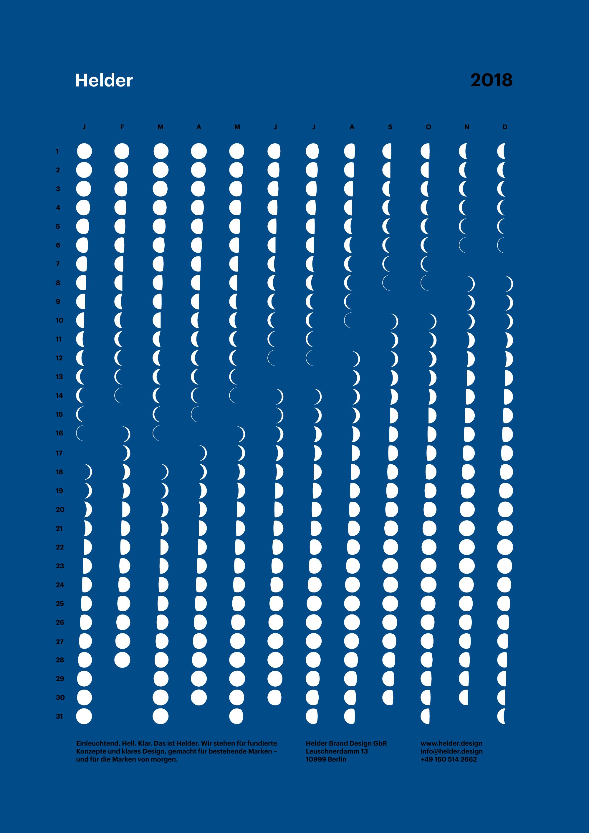 Lunar Calendar 2018 / Mondkalender